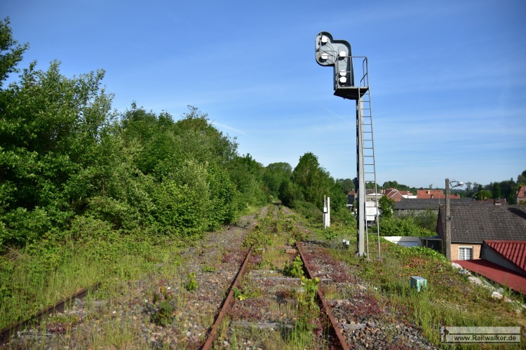 Ca. 2 Kilometer hinter Saint-Pol-sur-Ternoise. Züge sind hier bereits seit 1 1/2 Jahren nicht mehr gefahren. Langsam wächst die Natur über das Gleis.