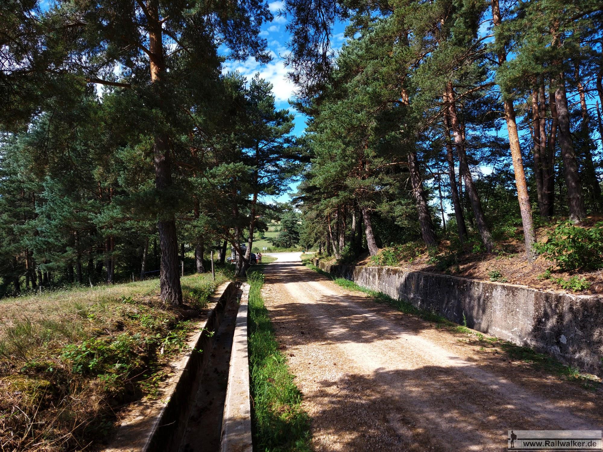 Wieder verläuft der Bahndamm durch den Wald. Viel Aufwand wurde in die Entwässerung der seitlichen Gräben gesteckt.