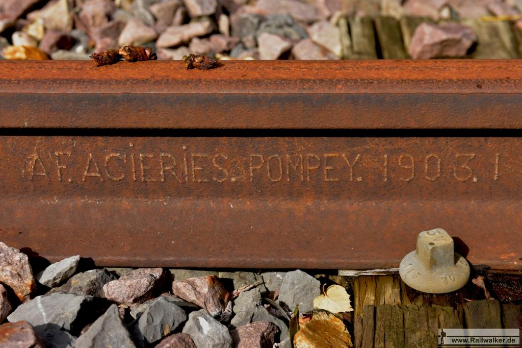 Walzzeichen AF.ACIERIES. POMPEY. 1903.I (also vom Januar 1903)