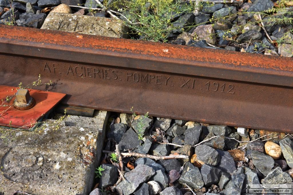Schiene von Acieries Pompey. Gewalzt im November 1912.