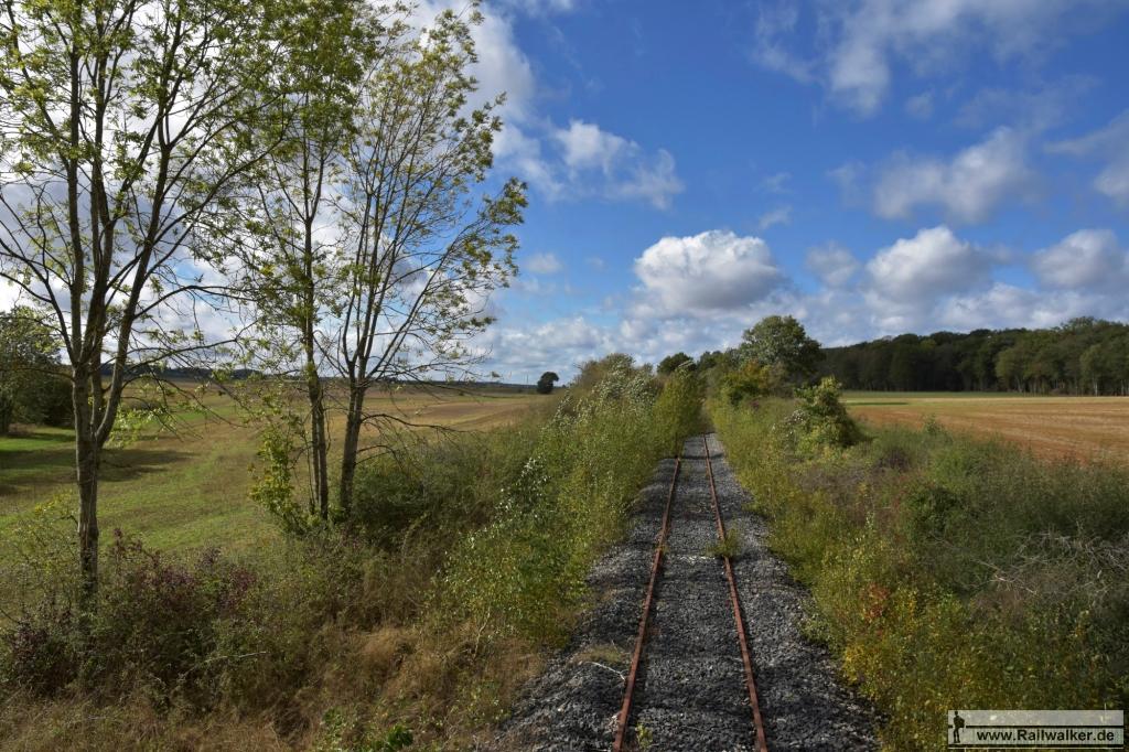 """Als die Strecke aus dem Wald """"Bois des Rapailles"""" heraustritt, ist sogar etwas neuer Schotter zu sehen."""