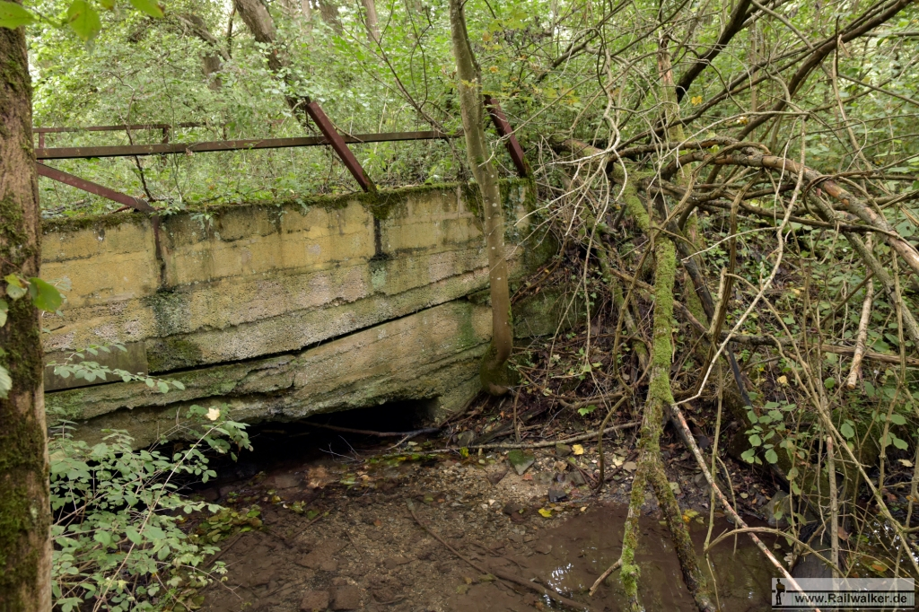 Heute ist dort dichter Wald wo das Gleis zu einer Firma führte. Diese alte Brücke konnte ich entdecken.