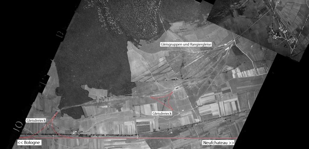 Luftbild aus dem Jahr 1949 auf welchem die Anlage noch halbwegs zu sehen ist. Bildquelle: https://remonterletemps.ign.fr