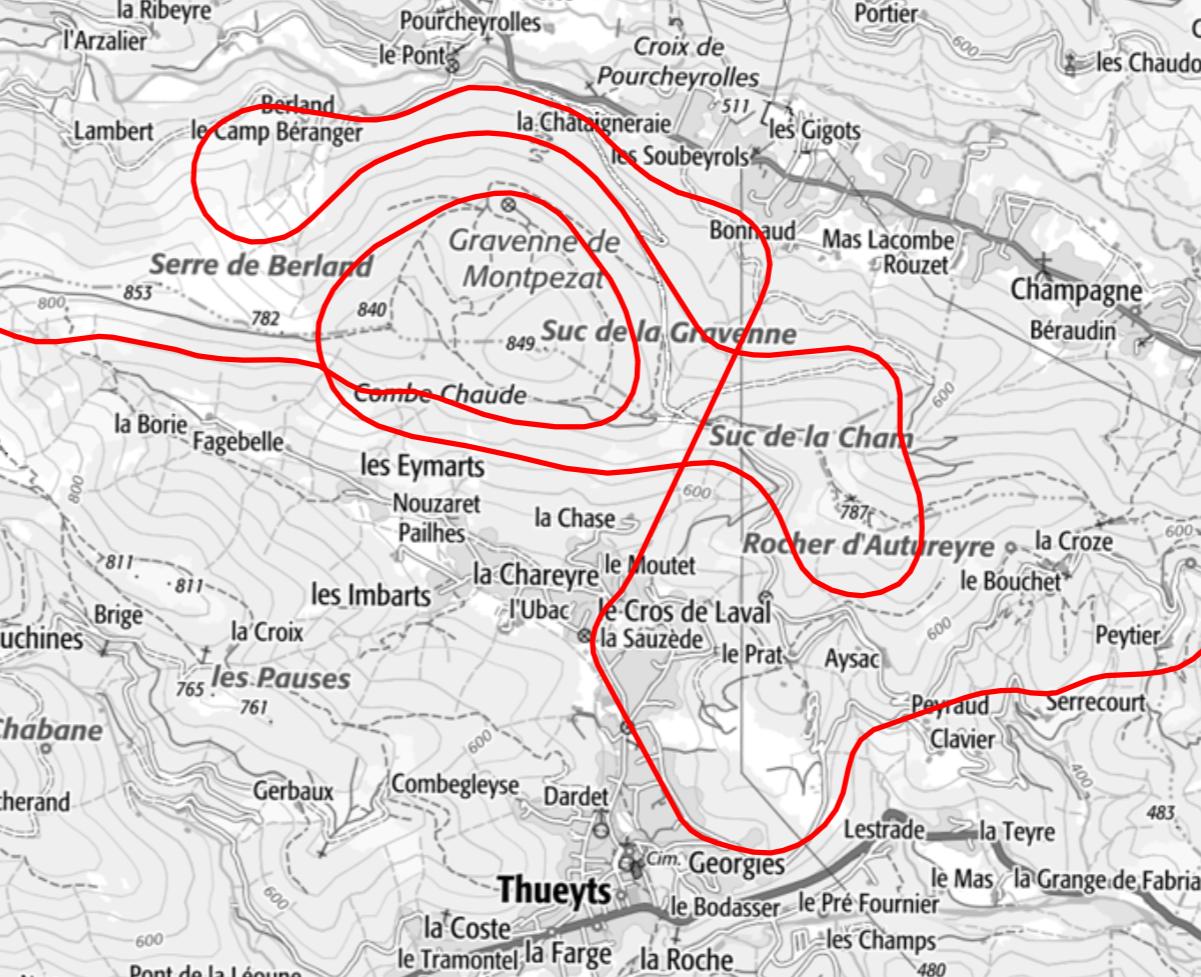 Ausschnitt der Spirale um den Berg Suc del a Gravenne. Alleine auf diesem Abschnitt wären 5 Tunnel gegraben worden. Kartenmaterial von www.geoportail.fr